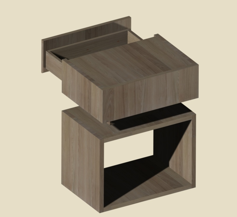 Une table de nuit hexaèdres Vue_210