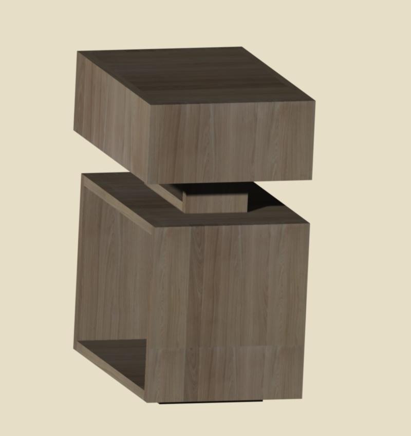 Une table de nuit hexaèdres Vue_310