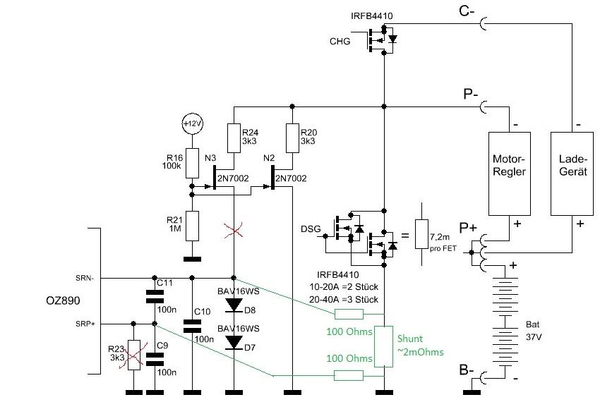 SmartBMS OZ890 modification shunt externe Strome10