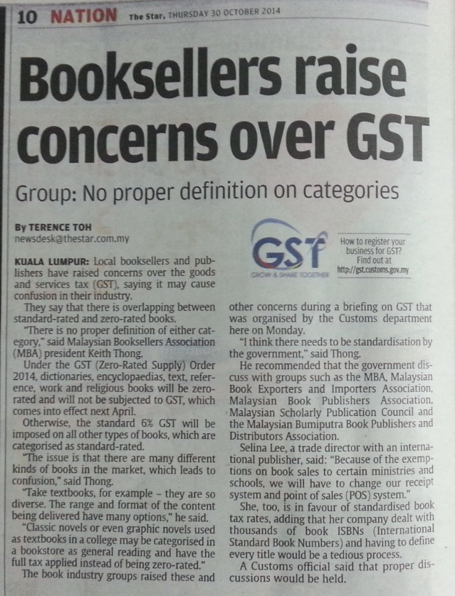 Booksellers raise concerns over GST - The Star, 30.10.2014 2014-114