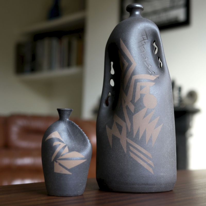 Pair Tribal Modernist Vessels -Any ideas of date or maker? _1130810