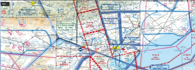 Vol VFR pour pratiquer la radio et utilisation cartes Approche à vue. Lfmk_l10