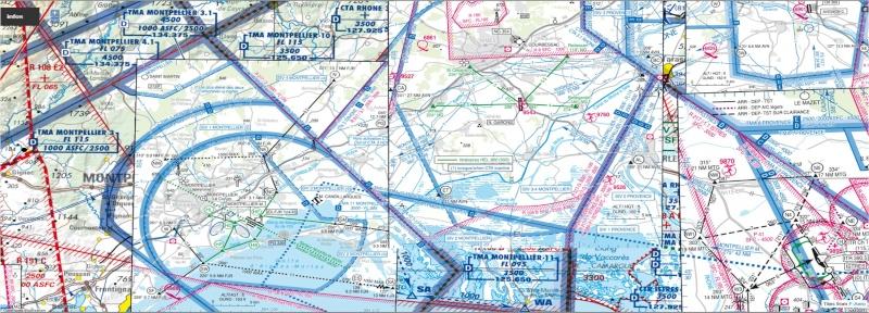 Vol VFR pour pratiquer la radio et utilisation cartes Approche à vue. Lfmt_l10