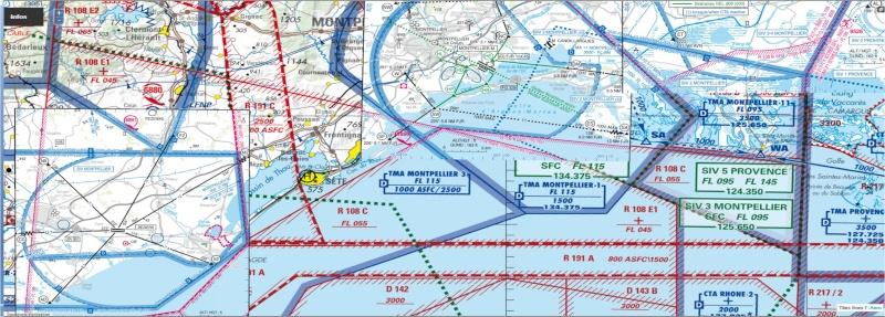 Vol VFR pour pratiquer la radio et utilisation cartes Approche à vue. Lfmu_l10