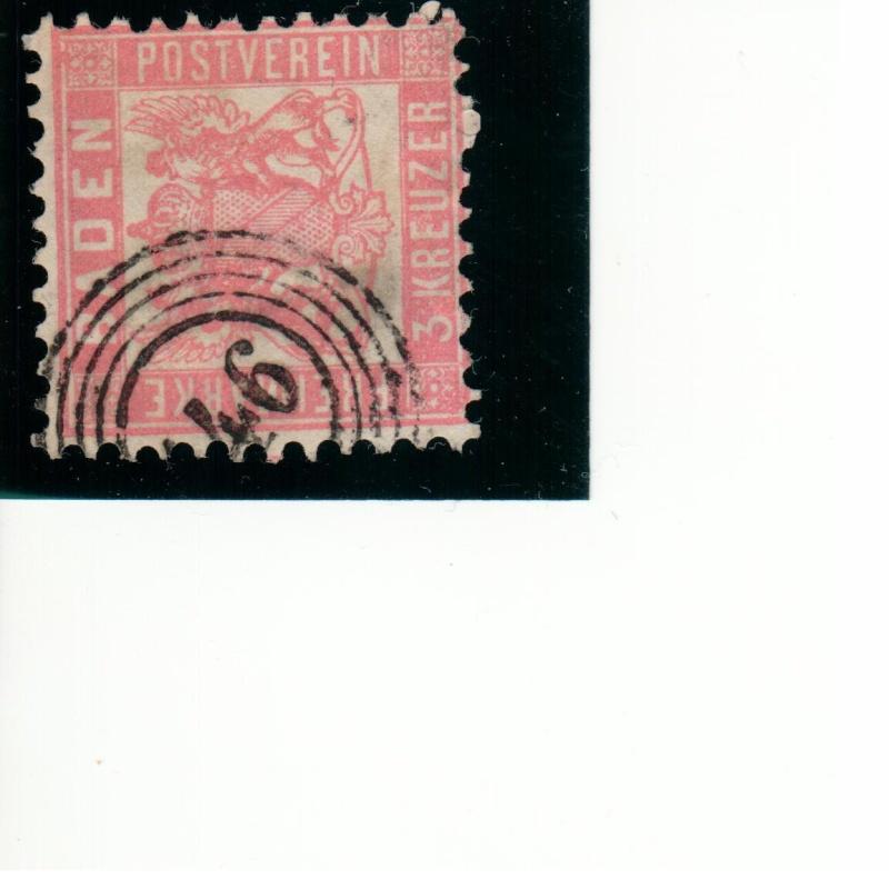 Briefmarke von Baden 3 Kreuzer und Shanchai Briefm19