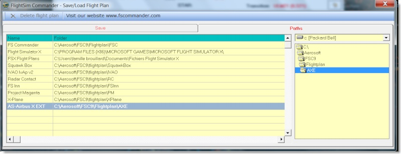 Problème de chargement des plans de vol FSCommander sur AIRBUS X Vue410