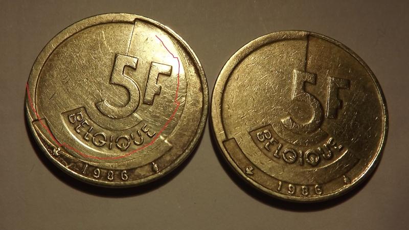 Pièce fautée. 5 francs belge 1986  Dscf3130