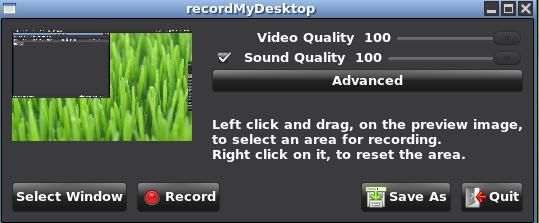لتثبيت برامج recordmydesktop  Select10