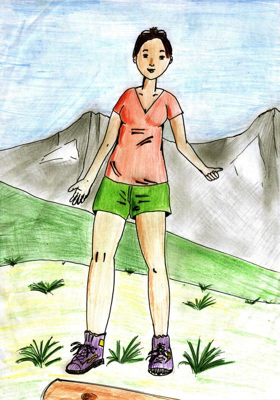 Jeune femme à la montagne - Mon premier dessin Dessin12