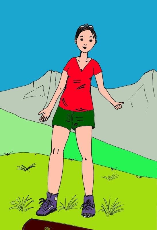 Jeune femme à la montagne - Mon premier dessin Dessin13