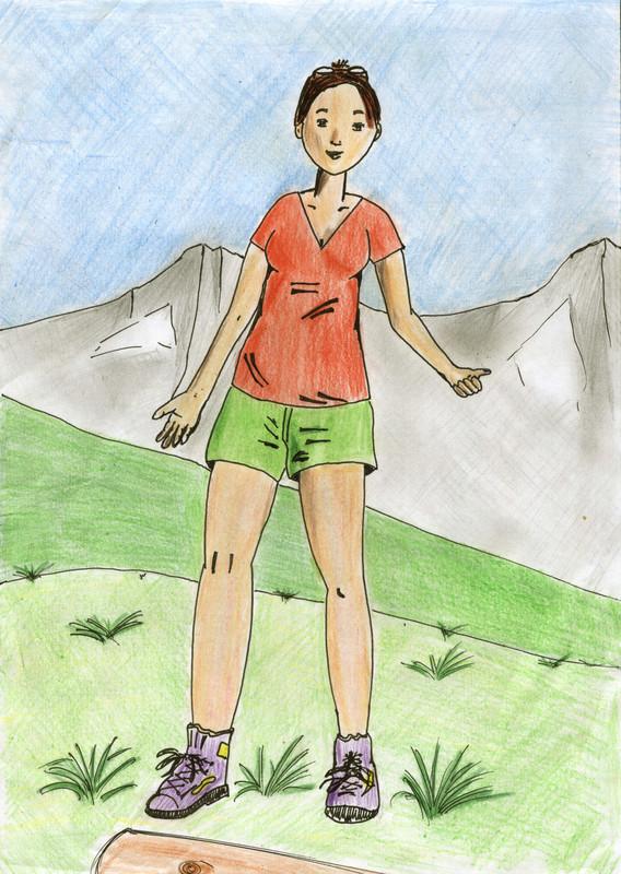 Jeune femme à la montagne - Mon premier dessin Dessin14