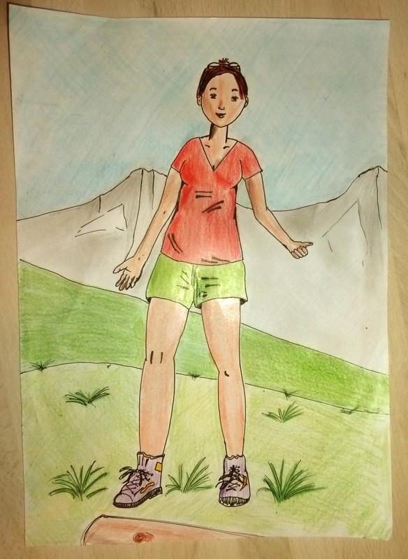 Jeune femme à la montagne - Mon premier dessin Dessin15