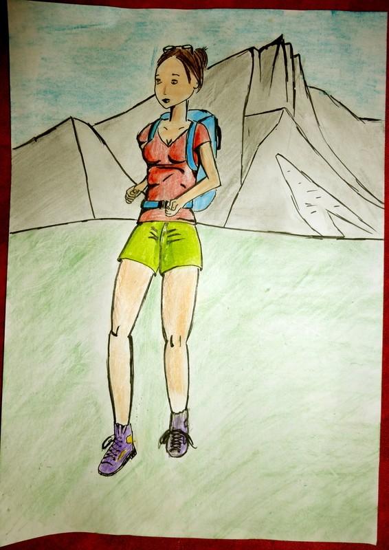 Jeune femme à la montagne - Suite Dessin17