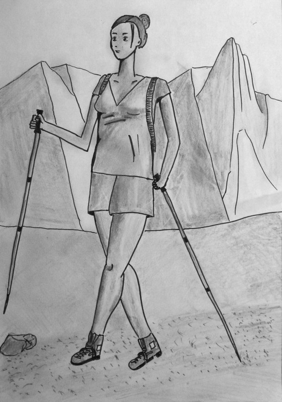 Jeune femme à la montagne - Suite Dessin19