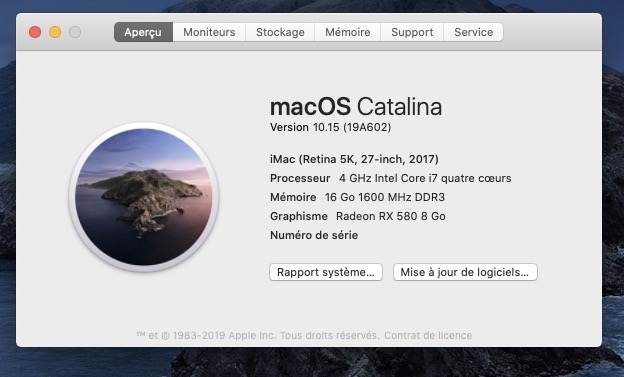 MacOS Catalina 10.15 mise à jour supplémentaire (19A602) Captur20