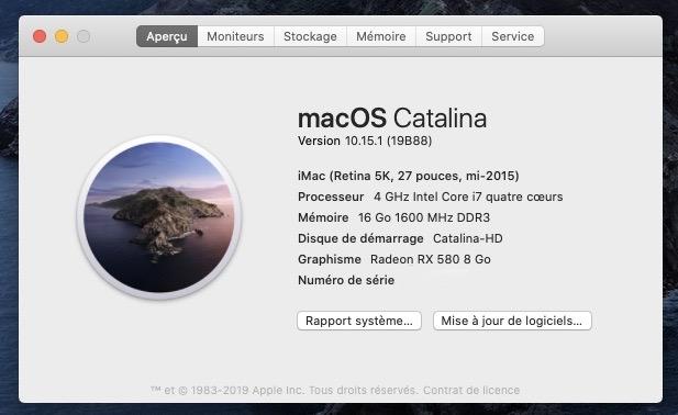 Mise a jour macOS Catalina 10.15.1 (19B88) Captur21