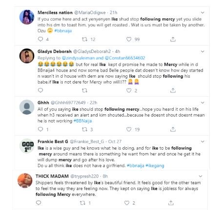 """See What Bbnaija's Ike Said After Being Trolled On Social Media For """"Following Mercy Everywhere She Goes"""" 1-19110"""