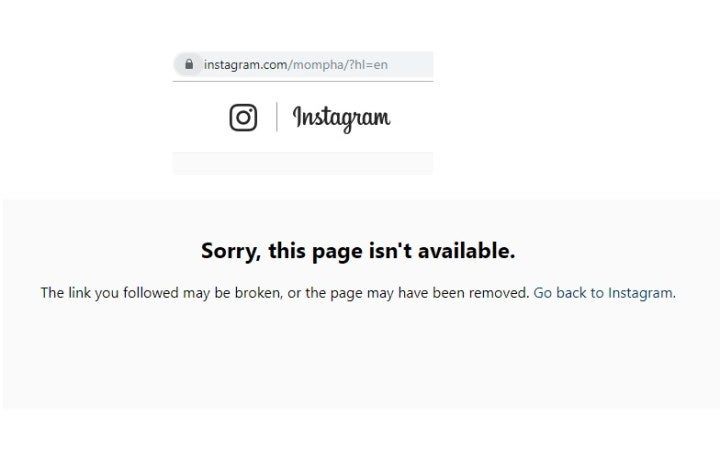 Mompha's Instagram Account Deactivated 10473710