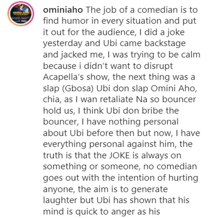 "Ubi Franklin Slapped Me At The Backstage Because I Made A Joke Of Him."" – Comedian Omini Aho Cries Out 5dadb710"