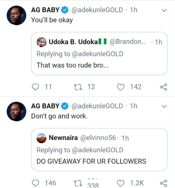 """Don't Go and Work"" — Adekunle Gold Tells A Fan Who Asked For Giveaway Ade10"