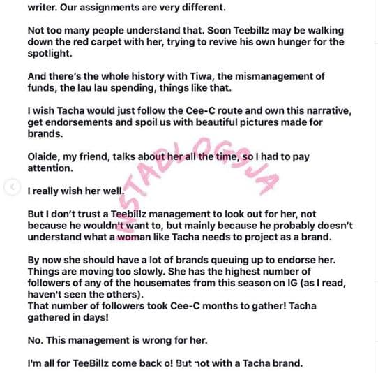 Tacha And Teebillz Relationship Will End In Tears – Nigerian Writer, Isi Bewaji Writes An Open Letter Tacha-19