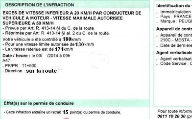 180 autorisé sur autoroute Modele11
