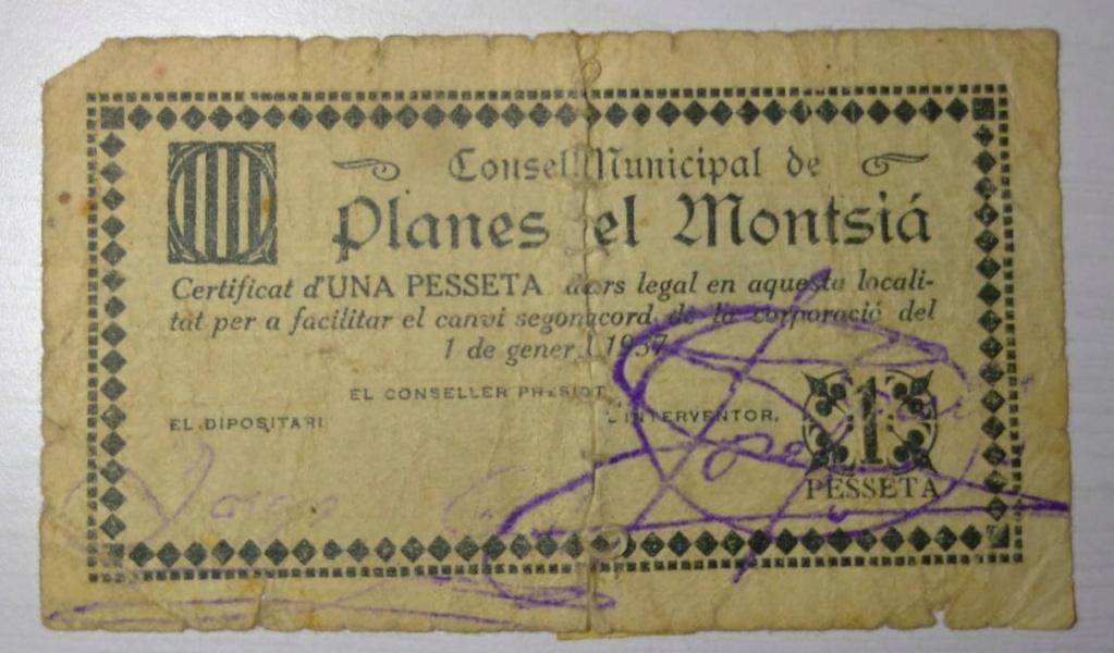 1 Pesseta Planes del Montsià, 1937 (2ª Emisión)  1ptare10
