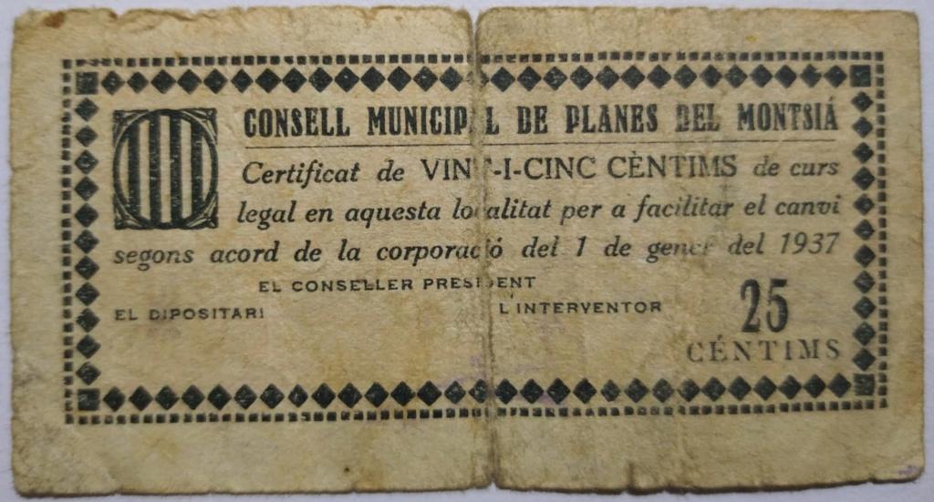 Planes del Montsià 25 Centimos 1937 (Guerra Civil) Anvers10