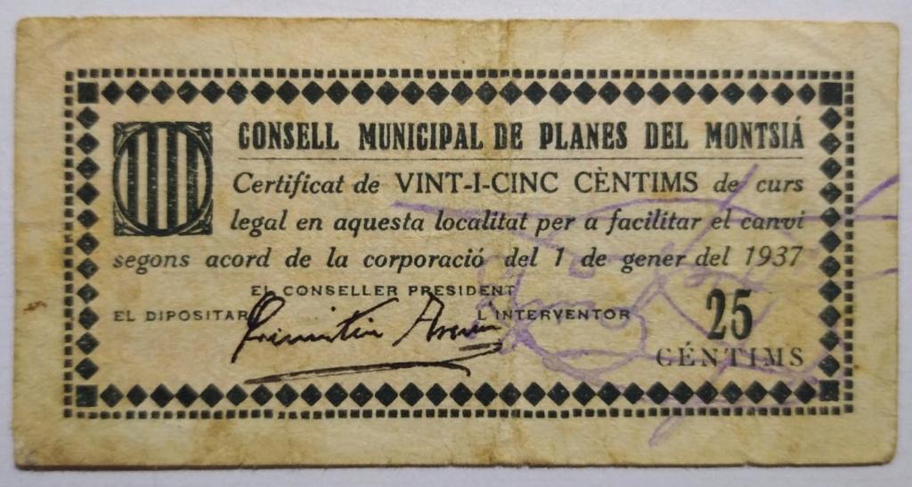 Planes del Montsià 25 Centimos 1937 (Guerra Civil) Anvers11