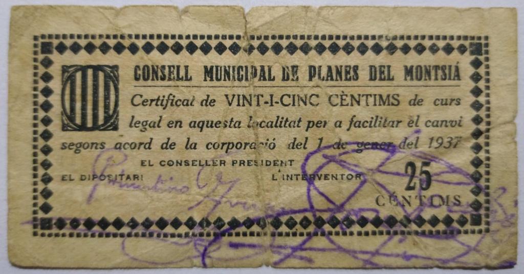 Planes del Montsià 25 Centimos 1937 (Guerra Civil) Anvers12