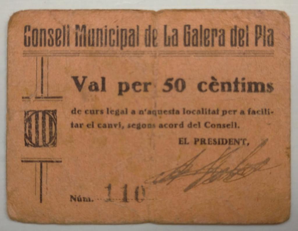 50 cèntims la Galera del Pla (el Montsià). 1a emissió juliol 1937 Galera10