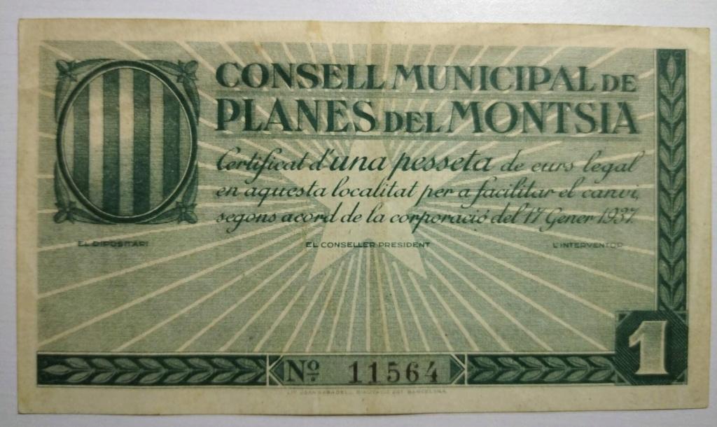 1 pesseta Planes del Montsià (1a emissió, 1937) Planes11