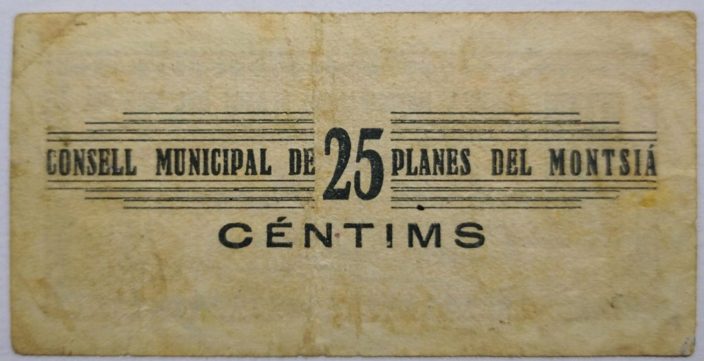 Planes del Montsià 25 Centimos 1937 (Guerra Civil) Revers10