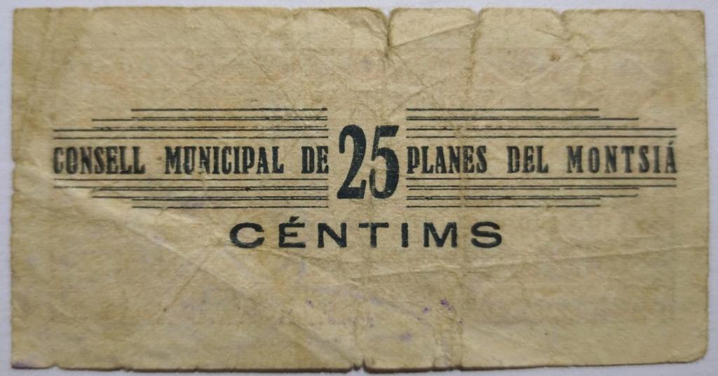 Planes del Montsià 25 Centimos 1937 (Guerra Civil) Revers11