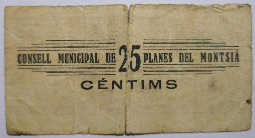 Planes del Montsià 25 Centimos 1937 (Guerra Civil) Revers12