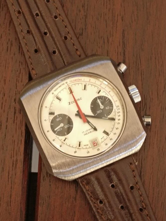 Relógio Zodiac 1970 vintage panda chronograph Valjoux 7734 date Img_2121