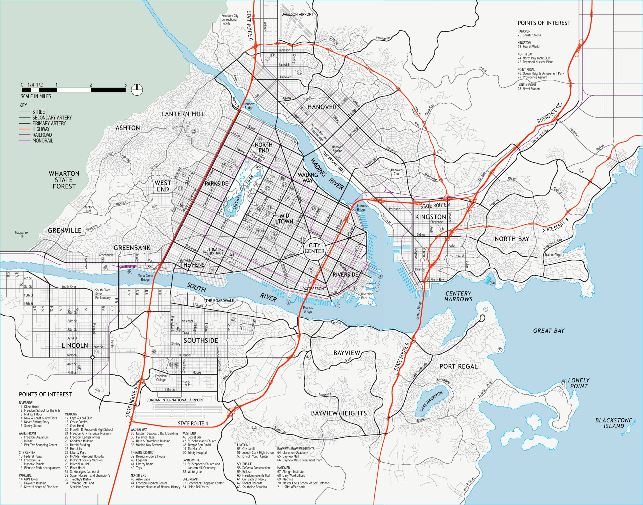 Map & Districts of Freedom City Freedo10