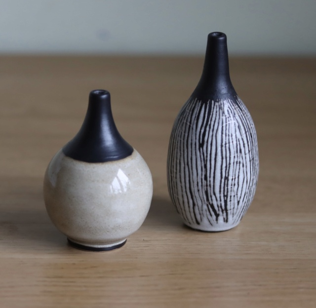 Two little studio pottery bottles, jg mark maybe - ID? 17f26410