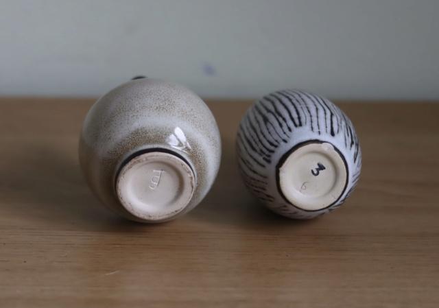 Two little studio pottery bottles, jg mark maybe - ID? Bf816510