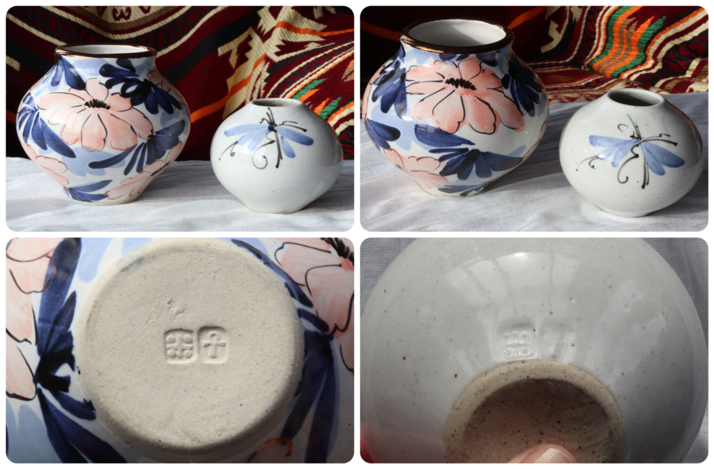 TWO POTTERY PIECES - CLEARLY MARKED THE SAME - ANKH 4 DOTS AND A CROSS Ankh_410