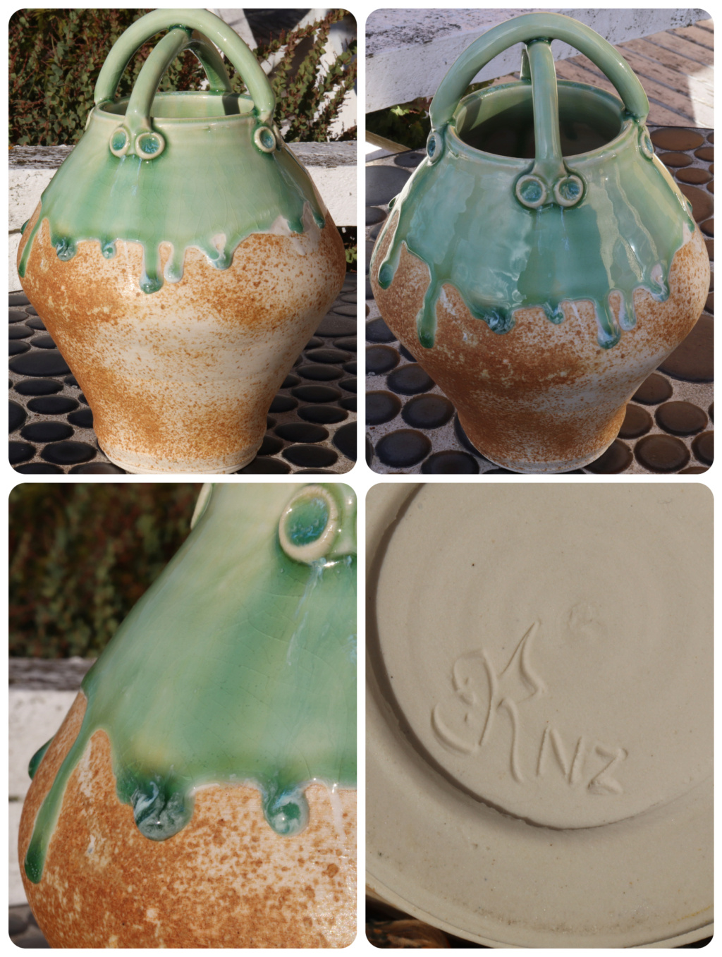 NZ POTTERY - WHO MADE ME? Vase1210