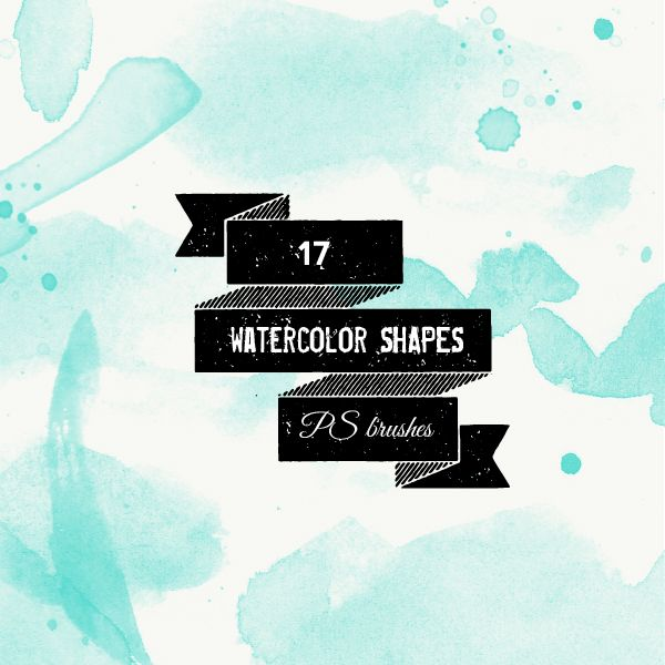 PS brushes: watercolor shapes and splatters 566-ps10