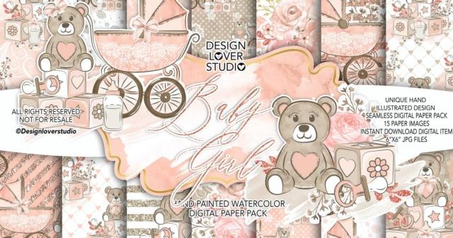 Baby Girl digital paper pack 7af21310