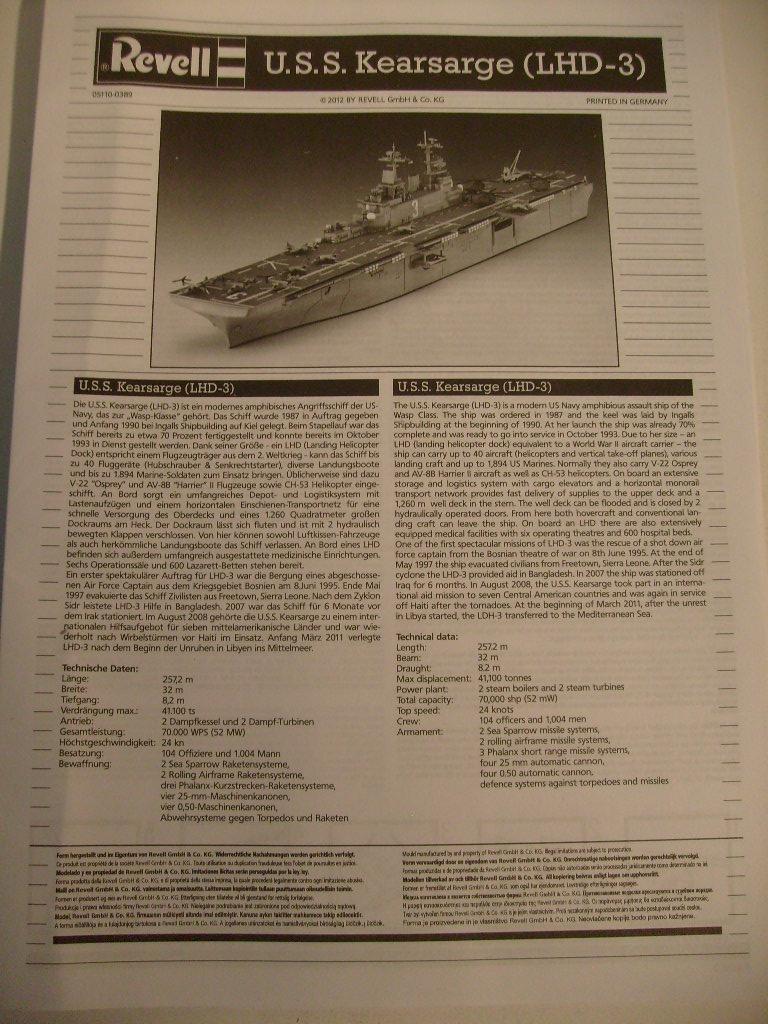 [REVELL] Navire amphibie d assault LHD-3 USS KEARSARGE 1/700ème Réf 05110 S7302038
