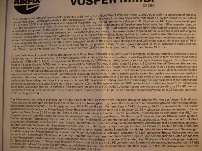 [AIRFIX] Vedette VOSPER MOTOR TORPEDO BOAT 1/72ème Réf 05280 S7307145