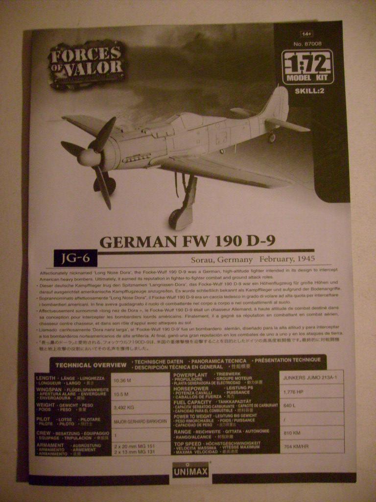 Multi-présentations UNIMAX-FORCE OF VALOR FOCKE WULF Fw190 D9 & CHANCE VOUGHT F4U-1 CORSAIR & NORTH AMERICAN P 51 MUSTANG 1/72ème S7308826