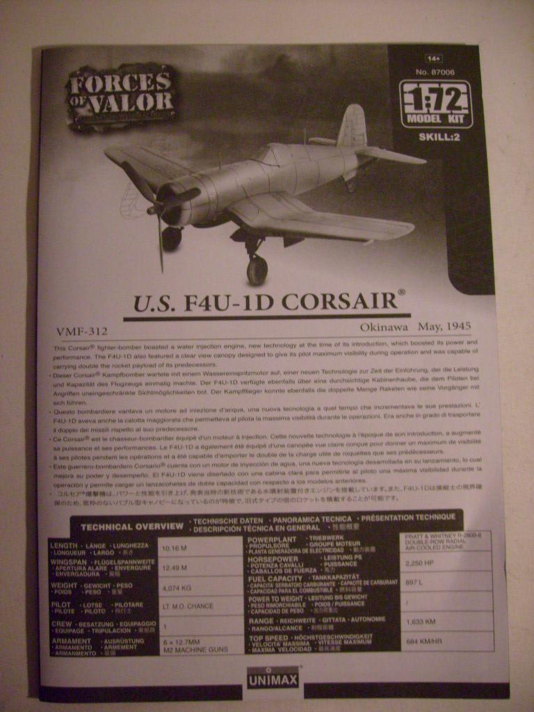 Multi-présentations UNIMAX-FORCE OF VALOR FOCKE WULF Fw190 D9 & CHANCE VOUGHT F4U-1 CORSAIR & NORTH AMERICAN P 51 MUSTANG 1/72ème S7308850