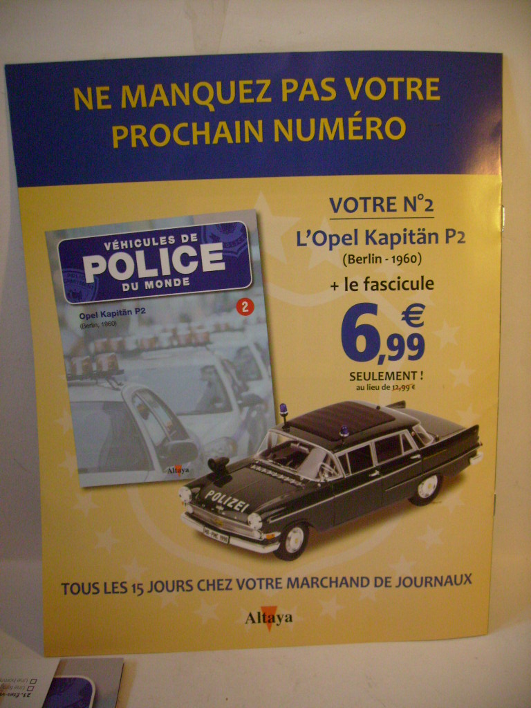 """Véhicules de police du monde"", test Altaya février 2012 S7309016"