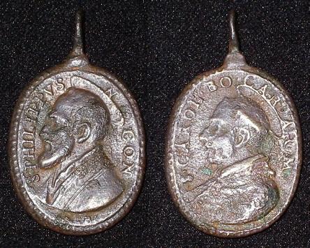 Médaille St-Philippe-Néri (1515-1595) & St-Charles-Borromée (1538-1584) - XVIIème Imgp9336