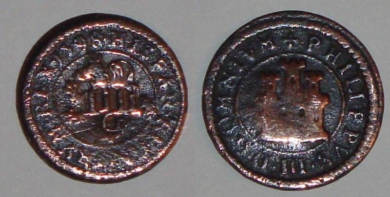 2 Maravedís de Felipe III (Segovia -ingenio-, 1598) + RESELLO IIII maravedis 1603 Granada Cobre10